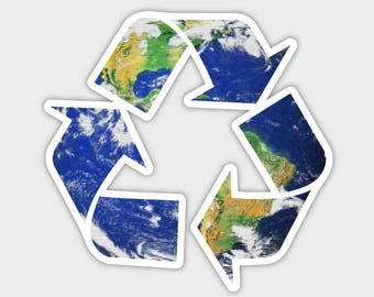 Save The Earth Recycle Bumper Sticker Decal 4"