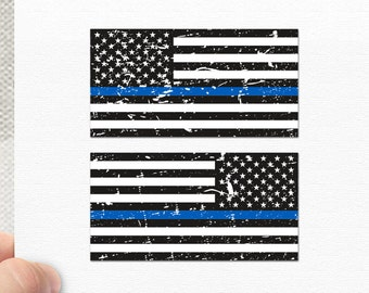 "6"" - Set of 2 - Thin Blue Line US Flags Bumper Sticker Decal Distressed"