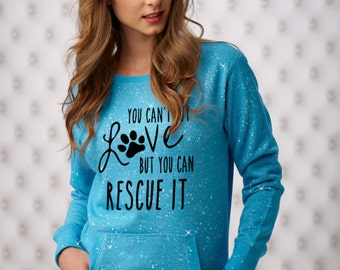 Small Maui Blue You Can't Buy Love Sparkle Women's Glitter Crewneck Sweatshirt | Dog Rescue | Dog Top | Dog Sweatshirt | Adopt