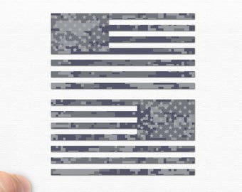 "6"" - Set of 2 - Jeep Wrangler American Navy Camo Flag Decals - 6"" x 3.16"""