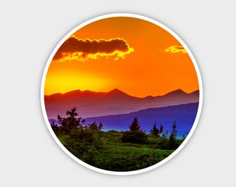 Sunset Mountains Explore Earth Bumper Sticker Decal 4"