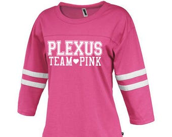 Plexus Team Pink Football 3/4 Sleeve Tee 78047JH | Striped Tee | Long Sleeved Tee | Team Pink | Plexus Shirt | Team Gift | Gift for Her