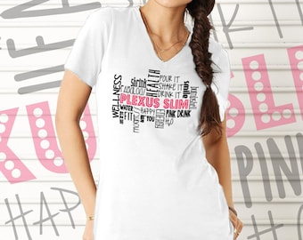 CLEARANCE - White Plexus Wordle V-Neck Tee 72018MT | Pink Drink | Team Gift | Gift for Her | Plexus Slim | Direct Marketing Tee
