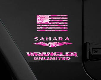 Set of 2 - Full Fender Replacement Set of Jeep Wrangler American Pink Magenta Camo Flag Decals - Sahara | JKU JK | Unlimited | Rubicon USA
