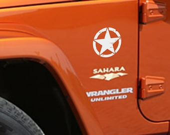 "Jeep Wrangler 5"" Oscar Mike Army Star Decal 3M Matte Black Sahara 
