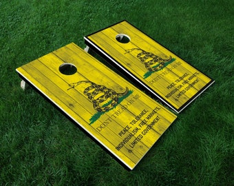 Cornhole Board Decal Wraps | Gadsden Flag | Don't Tread On Me | Tailgate Games | Corn Hole Decals | Cornhole Skins | Cornhole Sticker
