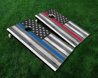 Cornhole Board Decal Wraps | Thin Blue Line | Thin Red Line | Tailgate Games | Corn Hole Decals | Cornhole Skins | Cornhole Sticker