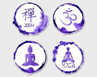 "Yoga Buddha Zen Watercolor Bumper Sticker Decal 5"""
