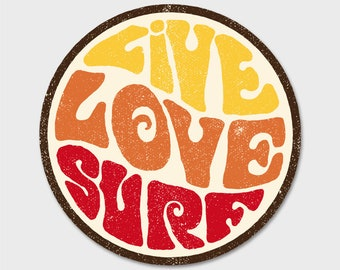 Live Love Surf Bumper Sticker Decal 4""