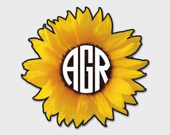 Sunflower Monogram Decal Vinyl Sticker • Vehicle • Yeti • Tumbler • RTIC • Custom • Customized | Monogram | Sunflower Sticker | Flowers