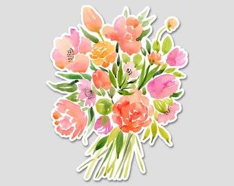 Flower Bouquet 1 Watercolor Bumper Sticker Decal | Flower Sticker | Flower Decal | Spring Flowers | Laptop Decal | Laptop Sticker