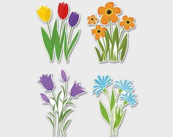 Flowers Watercolor Bumper Sticker Decal  | Flower Decal | Flower Stickers | Bouquet | Tulip Sticker | Daisy Sticker | Purple Flowers