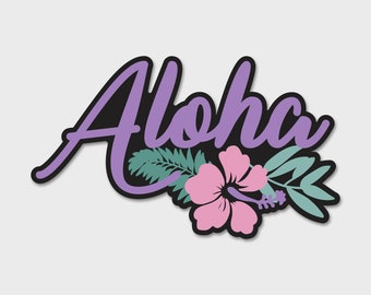 Aloha Flower Pink Hibiscus Tropical Watercolor Bumper Sticker Decal | Hibiscus | Aloha Sticker | Tropical Sticker | Laptop Decal | Laptop