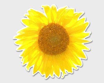 Flower Sunflower Watercolor Bumper Sticker Decal | Sunflower | Flower Decal | Laptop sticker | Laptop Decal