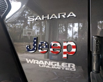 Set of 2 - Jeep Wrangler JL 2018 2019 USA American Flag Sticker Decal Fender Emblem Overlay | Sahara | JLU | Unlimited | Rubicon