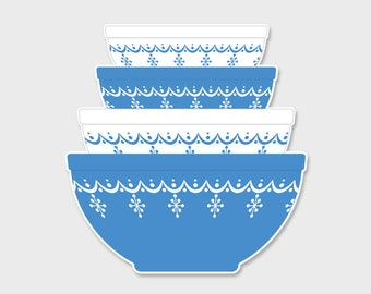 Pyrex Snowflake Blue Nesting Mixing Bowls Sticker Decal