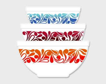 Pyrex Agee Paisley 1978 Nesting Mixing Bowls Sticker Decal  | Gift for Her | Rare Pyrex | Laptop Sticker | Laptop Decal | Pyrex Prints