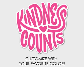 Kindness Counts Watercolor Bumper Sticker Decal | Laptop Decal | Laptop Sticker | Kindness Matters | Love One Another | Choose Kindness