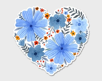 Flower Heart 2 Watercolor Bumper Sticker Decal | Flowers | Flower Sticker| Spring | Laptop Decal | Laptop Sticker | Blue Flowers | Heart