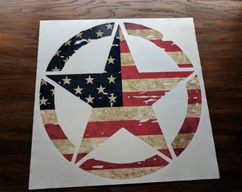 "Jeep Wrangler 20"" Oscar Mike Hood Star Decal Distressed American Flag Print USA Sahara | JKU JK | Unlimited | Rubicon"