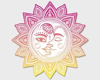 "Mandala - Sun and Moon Bumper Sticker Decal 4""   Laptop sticker   Laptop Decal   Yoga   Balance   Yin Yang   Abstract Art"