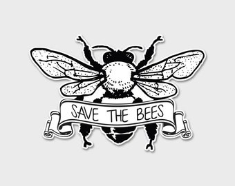 Save The Bees  Decal | Bees | Honey Bees | Environmental Sticker | Laptop Sticker | Laptop Decal | Vintage Bees | Save The Bees Sticker