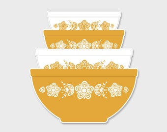 Pyrex Butterfly Gold Nesting Mixing Bowls Sticker Decal  | Gift for Her | Rare Pyrex | Butterfly Gold | Laptop Sticker | Laptop Decal