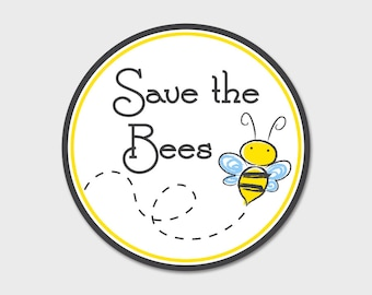 "Save The Bees  Decal 4"" Circle 