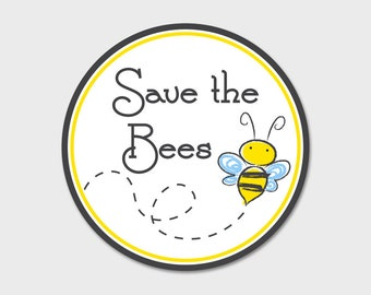 "Save The Bees Bumper Sticker Decal 4"" Circle 