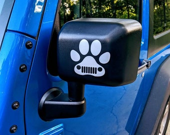 Jeep Wave Wrangler Dog Paw Grill Grille Decal Sahara | JKU JK | Unlimited | Rubicon | Sport | Jeep Decal | Car Decal | Dog Decal | Paw
