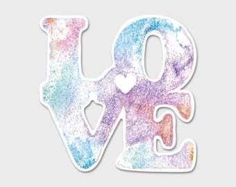 Love Confetti Heart Beautiful Watercolor - Bumper Sticker Decal