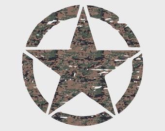 "Jeep Wrangler 20"" Oscar Mike Hood Marines MARPAT Camo Print Star Decal Camoflauge"