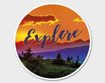 Sunset Mountains Explore 1 Earth Bumper Sticker Decal 4"
