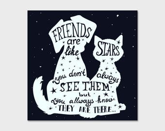 Friends Are Like Stars 1 Dog Cat Pet Bumper Sticker Decal 4""