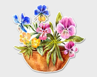 Flower Pansies Pansy Watercolor Bumper Sticker Decal | Flower Sticker | Flower Basket | Flower Decal | Laptop Sticker | Laptop Decal