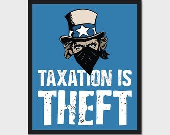 "Taxation Is Theft Uncle Sam Bandit Robber 4.75""x4"" Bumper Sticker Decal Taxes 