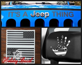 It's A Jeep Thing Hand Wave Wrangler Grill Emblem Overlay Sticker Flags Decal Holiday Special Kit 2