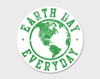 Vintage Earth Day Everyday Sticker Decal 4"