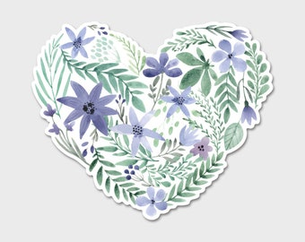 Flower Heart Watercolor Bumper Sticker Decal  | Valentines | Gift for Her | Spring | Easter | Flower Sticker | Laptop Decal | Laptop Sticker