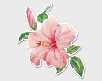 Flower Pink Hibiscus Tropical Watercolor Bumper Sticker Decal | Hibiscus | Aloha Sticker | Tropical Sticker | Laptop Decal | Laptop Sticker