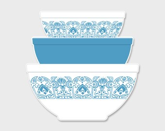Pyrex Horizon Blue Nesting Mixing Bowls Sticker Decal  | Gift for Her | Rare Pyrex | Laptop Sticker | Laptop Decal | Pyrex Prints