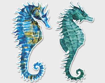 Seahorse Marine Life Sea Beautiful Watercolor - Bumper Sticker Decal