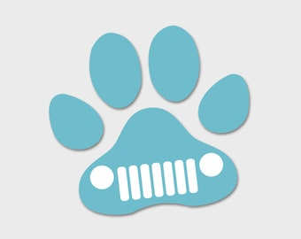 Jeep Wrangler Dog Paw Grill Grille Decal Sahara | JKU JK | Unlimited | Rubicon | Sport | Jeep Decal | Car Decal | Dog Decal | Paw