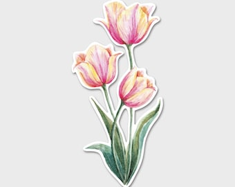 Flower Tulips Watercolor Bumper Sticker Decal | Flowers | Flower Sticker| Spring | Laptop Decal | Laptop Sticker | Tulip Bouquet