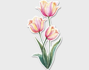 Flower Tulips Watercolor Bumper Sticker Decal