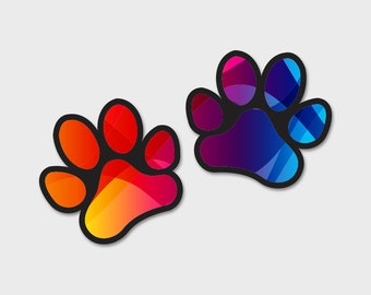 Dog Paws Rainbow Abstract Background Bumper Sticker Decal