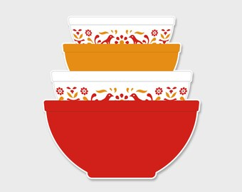 Pyrex Friendship Nesting Mixing Bowls Sticker Decal | Gift for Her | Rare Pyrex | Friendship | Friends | Laptop Sticker | Laptop Decal
