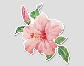 Flower Pink Hibiscus Tropical Watercolor Bumper Sticker Decal