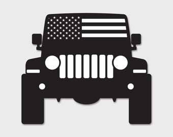 Jeep American USA Flag Windshield Decal Wrangler JL JLU 2018 Sahara | 2019 | Unlimited | Rubicon