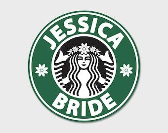 "Custom Starbucks Bridal Party Sticker Tumbler Decal 4"""